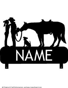 Details about COWBOY COWGIRL DOG AND HORSE MAILBOX TOPPER (YOUR NAME) STEEL  BLACK POWDER COAT