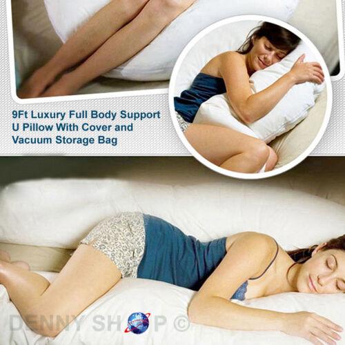 9Ft U/&C SHAPE COMFORT MATERNITY BACK /& BODY SUPPORT PREGNANCY PILLOW COVER /& BAG
