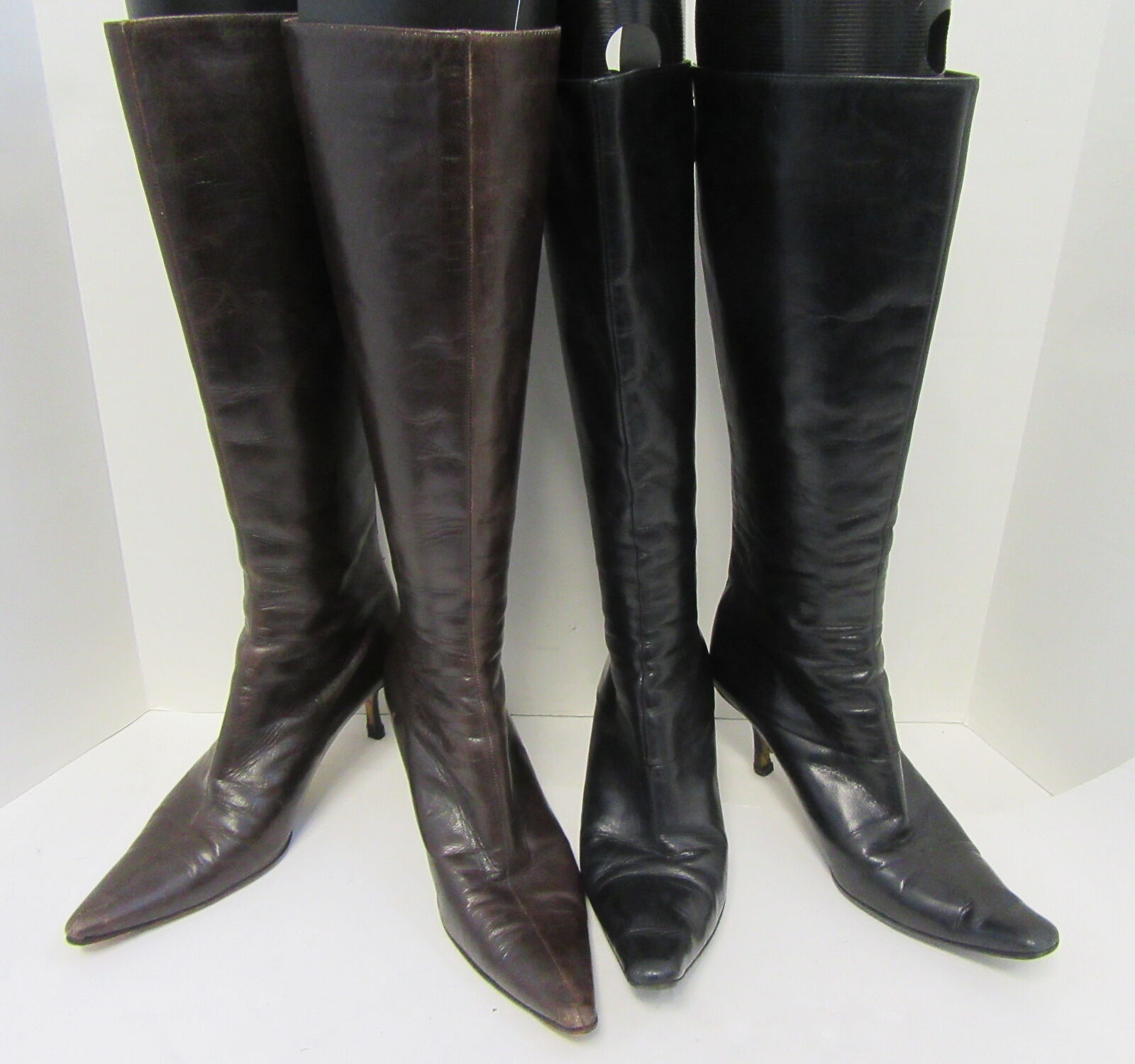 JIMMY CHOO Lot of 2 Black and Brown To-the-Knee Kitten Heel Boots Size 36 37