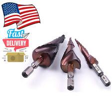 4pc 14 Hss M35 Cobalt Spiral Grooved Step Drill Bits 3 12 4 22 6 24mm