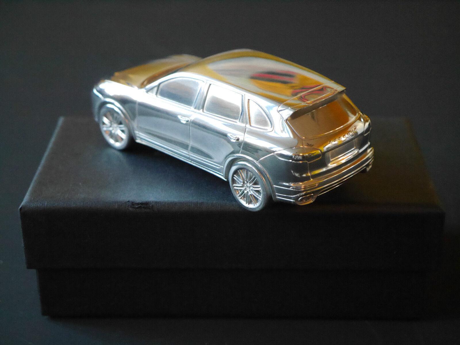 Porsche cayenne turbo voiture voiture voiture miniature en métal chrome simplement un doit pour le bureau 0ec641