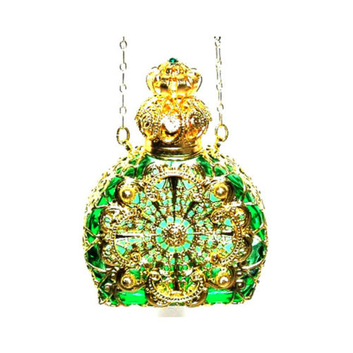Czech Jewelled PerfumeOilHoly Water Green Bottle Pendant Necklace Holder