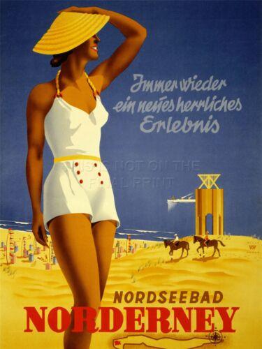 ART PRINT ADVERT TRAVEL TOURISM NORDERNEY BEACH GERMANY SUN SAND SEA NOFL0540