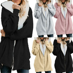 Womens-Solid-Oversized-Zip-Down-Hooded-Fluffy-Coat-Cardigans-Pocket-Outwear-US