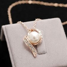 18K Rose Gold Plated Made With Swarovski Simulated Pearl Twisted Necklace