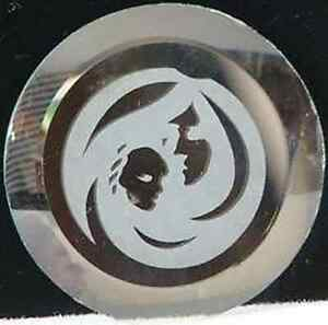 etched madonna approx 2 w beveled glass disc craft