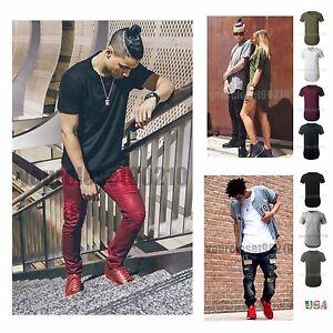 Mens Basic Extended Long T- Shirt Elongated Fashion Casual Crew Neck ... ecb3b0e44