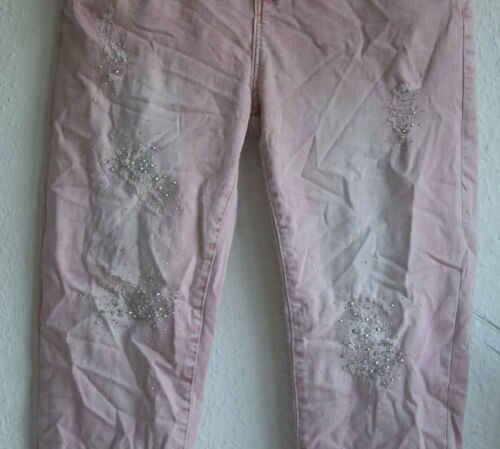 36-48 Damen Stretch Jeans destroy Strass Rosa Batik Gr