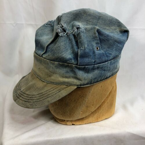 Antique Vintage Denim Railroad Engineer Hat Cap Wo