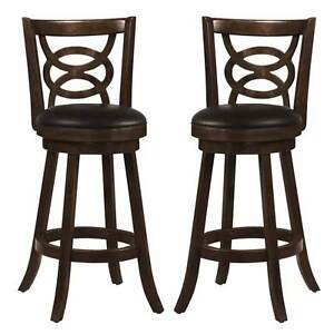 Magnificent Details About Swivel Wood Dining Chairs 29H Bar Stool Set Of 2 Espresso W Upholstered Seat Machost Co Dining Chair Design Ideas Machostcouk
