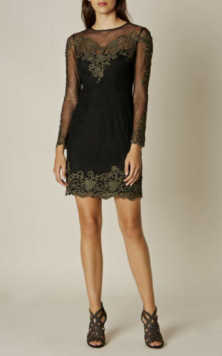 UK 10 KAREN MILLEN Black /& Gold Embroidered Mesh Mini Dress UK 6 UK 12 UK 8