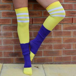 ce920f2a382 Womens Over the Knee Socks 3 Stripes Fancy Dress Sports Cosplay ...