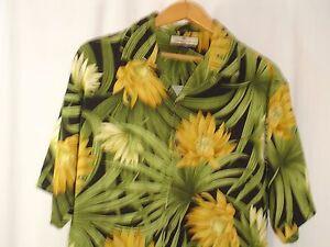 TOMMY-BAHAMA-100-Silk-Camp-Shirt-M-Aloha-Hawaiian-Black-Green-Yellow