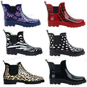 Womens Rain Boots Rubber Short Ankle Wellies wellington Pull On ...