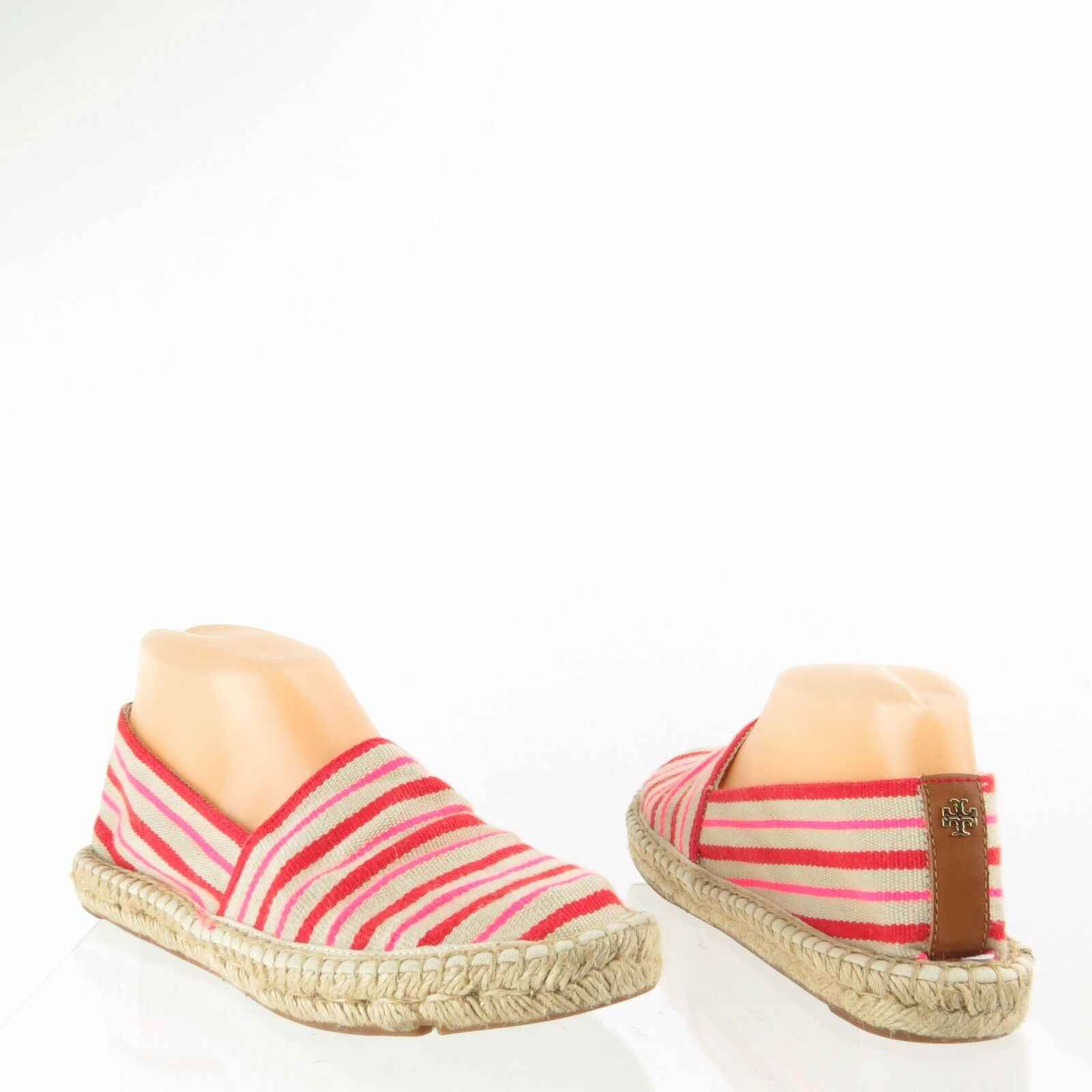 Women's Tory Burch shoes Red Striped Canvas Espadrille Flats Size 7 M