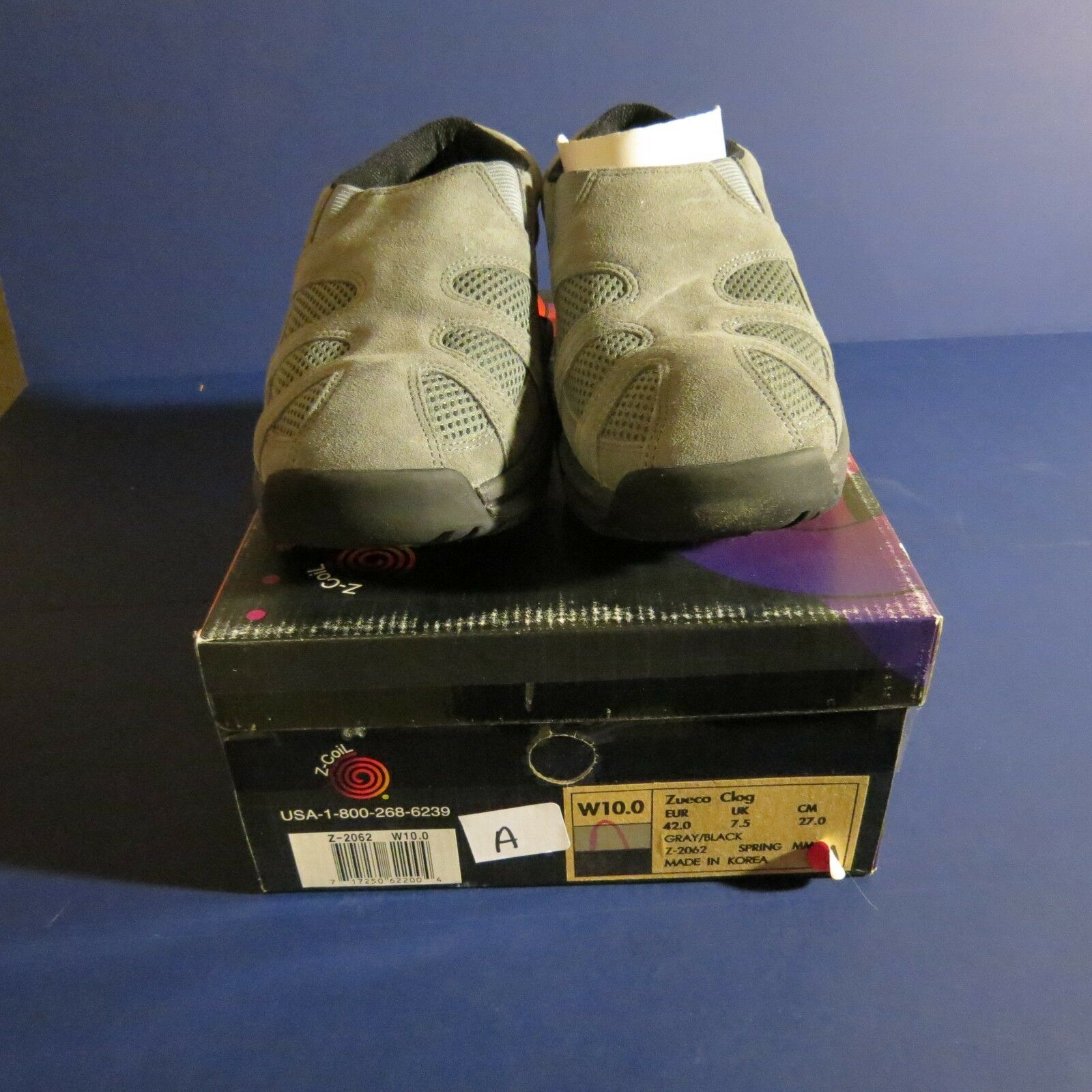 NEW Z-coil pain relief footwear womens 10 grey zueco suede clog with mesh