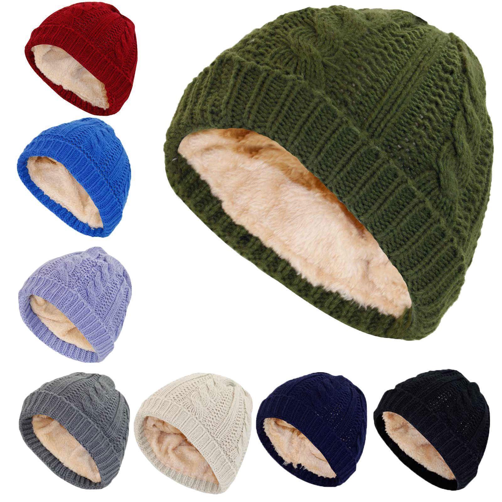 49638299e3a Details about Ladies Kids Cable Knit Sherpa Fleece Lined Women Cap Winter  Warm Heat Casual Hat