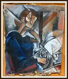 Details About Russian Avant Garde Cubism Futurism Oil Painting Sign N Udaltsova 1910 S