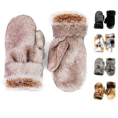 Futrzane Faux Rabbit Fur Mittens Winter Gloves High Quality Black One Finger Ski