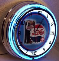18 Pepsi Cola Big Big Glass Sign Double Neon Clock