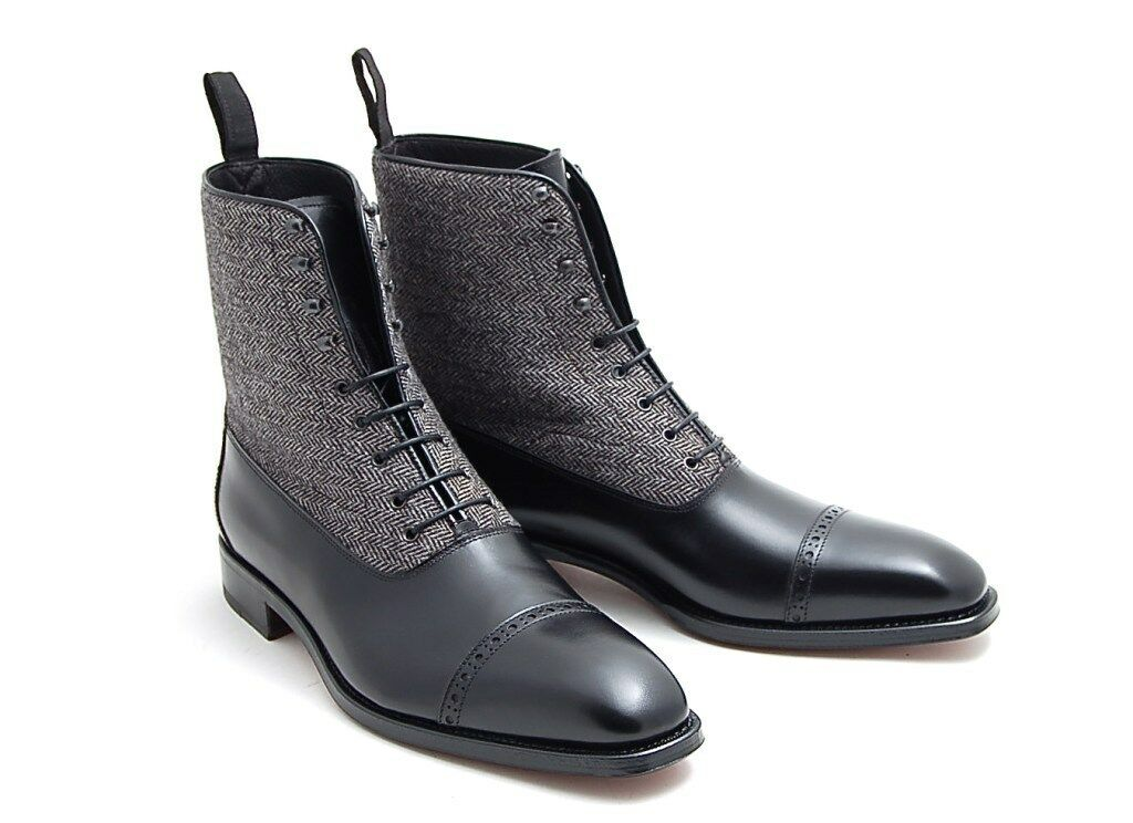 MEN HANDMADE SUEDE LEATHER Schuhe BLACK TWO TONED CAP TOE ANKLE BOOTS