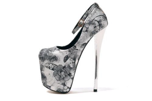 Fleuri Bride Cheville Homme talons or vintage Crossdresser Femmes Chaussures Taille Plus