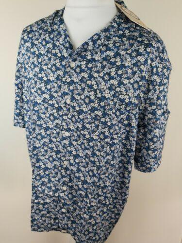 Nwt Mens Pretty Green Floral Ditsy Shirt Blue Xxl 2xl 50 Chest Short Sleeve