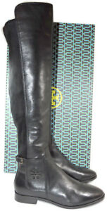 1282a41e3033 Tory Burch WYATT Leather Riding Boot Flat Equestrian Booties 8 Over ...