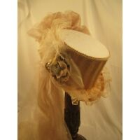 Elsie Massey Steampunk White Riding Hat With Taupe Stripe, Clock Parts, Netting