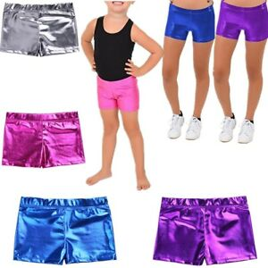 the latest 8df73 194e5 Image is loading Kid-Girls-Metallic-Leather-Dance-Bottoms-Shorts-Gym-