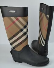 New Burberry Clemence House Check Rain Boots Size 40 / 10 $325