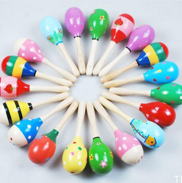 TIAU 1PC Colorful Wooden Maraca Rattles Kids Party Child Baby Beach Shaker Toy