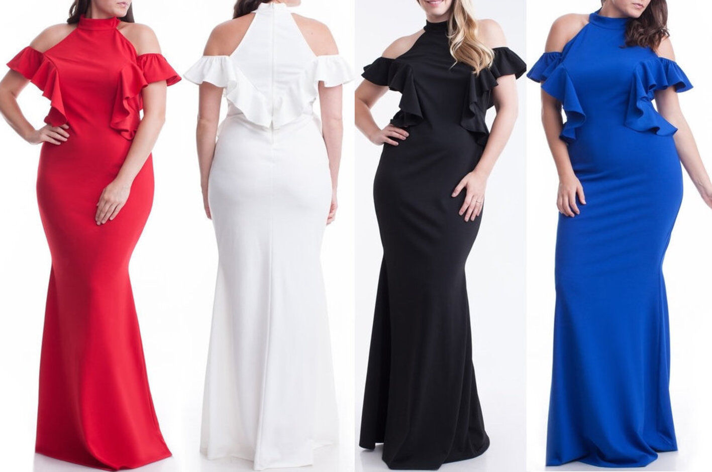 Plus Size Ruffle Cut Out Cold Shoulder Mermaid Maxi Dress Hourglass Gown
