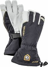 2017 Men's Hestra Army Leather Gore Tex 5 Finger Ski Gloves Size 8 Black 31460