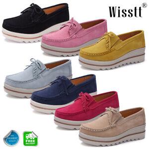 New-Ladies-Women-Platform-Wedges-Heels-Suede-Slip-On-Loafers-Sneakers-Shoes-Size
