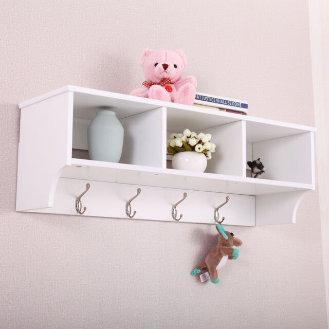 Entryway Wall Mount Coat Rack Storage Shelf Cubby Organizer Hooks ...