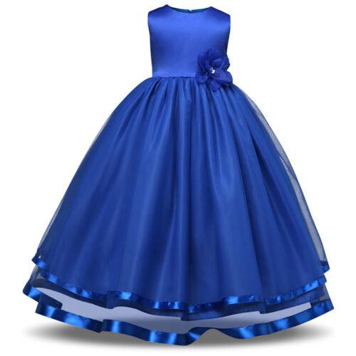 Girl Kids Floral Princess Formal Wedding Bridesmaid Ball Gown Long Dress 4-12Y