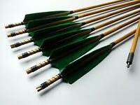 """Hunting 6x Bamboo Arrows Self Nock Bamboo Shafts Points 28""""-33"""" For Recurve Bow"""