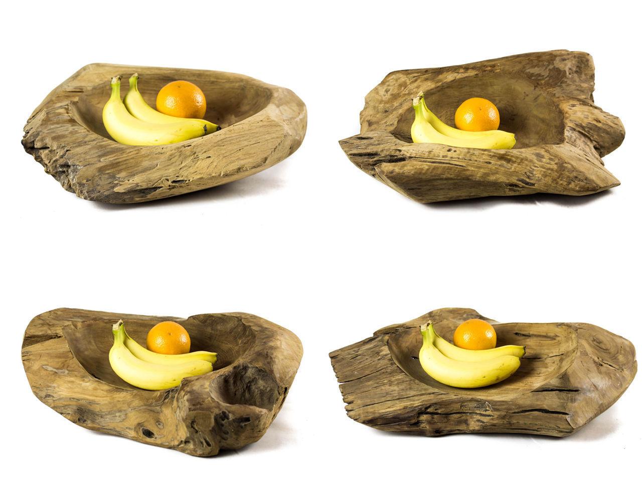 Teakholz Schale Obstschale 40-50cm Holzschale Deko Design Holz Natur Obst Teller