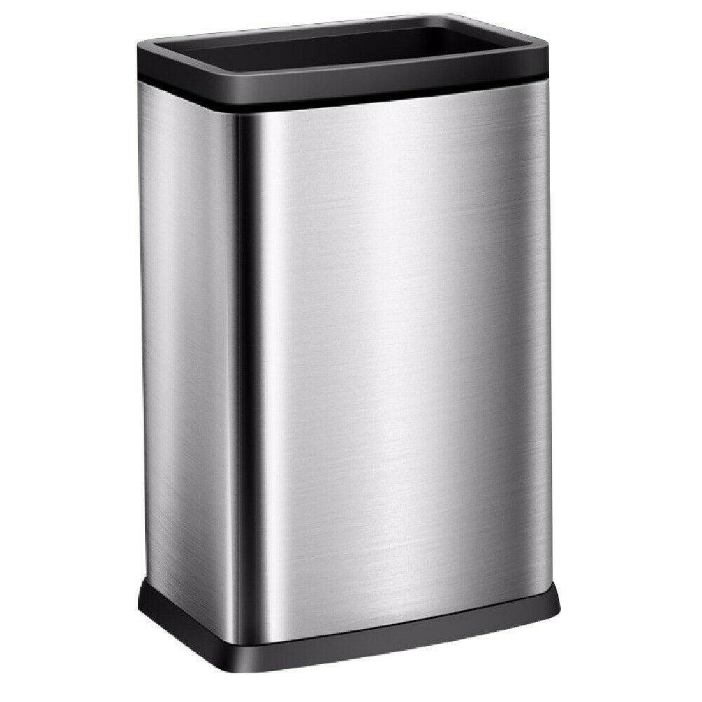 10 Gallon   40 Liter Brushed Stainless Steel Open Top Trash Can Removable Bucket