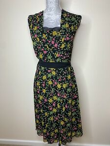 Whistles-Black-Floral-Print-Sleeveless-Tie-Belt-Dress-Formal-UK-size-10