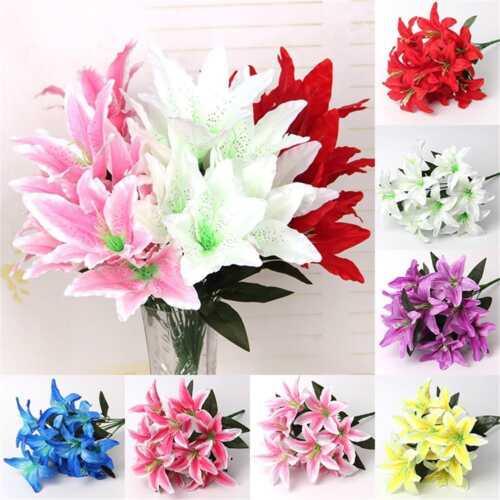 10 Köpfe Blüten Künstliche Lilien Blumen Seidenblumen Kunstblumen Blumenstrauß