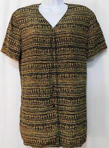 JONES-NY-Silk-Shirt-Blouse-Womens-8-Button-Up-Geometric-Black-Gold-Career-Work