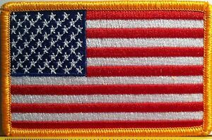 American-Flag-Embroidered-Patch-Iron-On-Gold-Border-USA-US-United-States-America