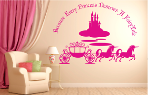Disneyland Type Castle And Carriage with Unicorns and Quote vinyl wall Stickers