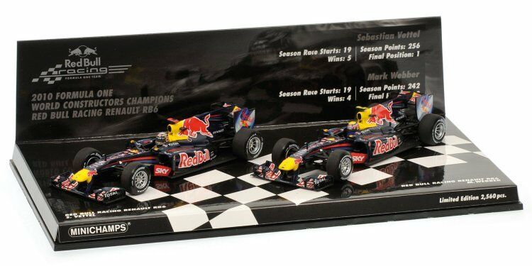 Red Bull Racing Renault RB6 2010 F1 Champions (Set of 2) 1 43 Model 412100506
