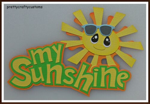 My Sunshine Green Paper Piecing Title Embellishment 4 Cards Pages SC4S