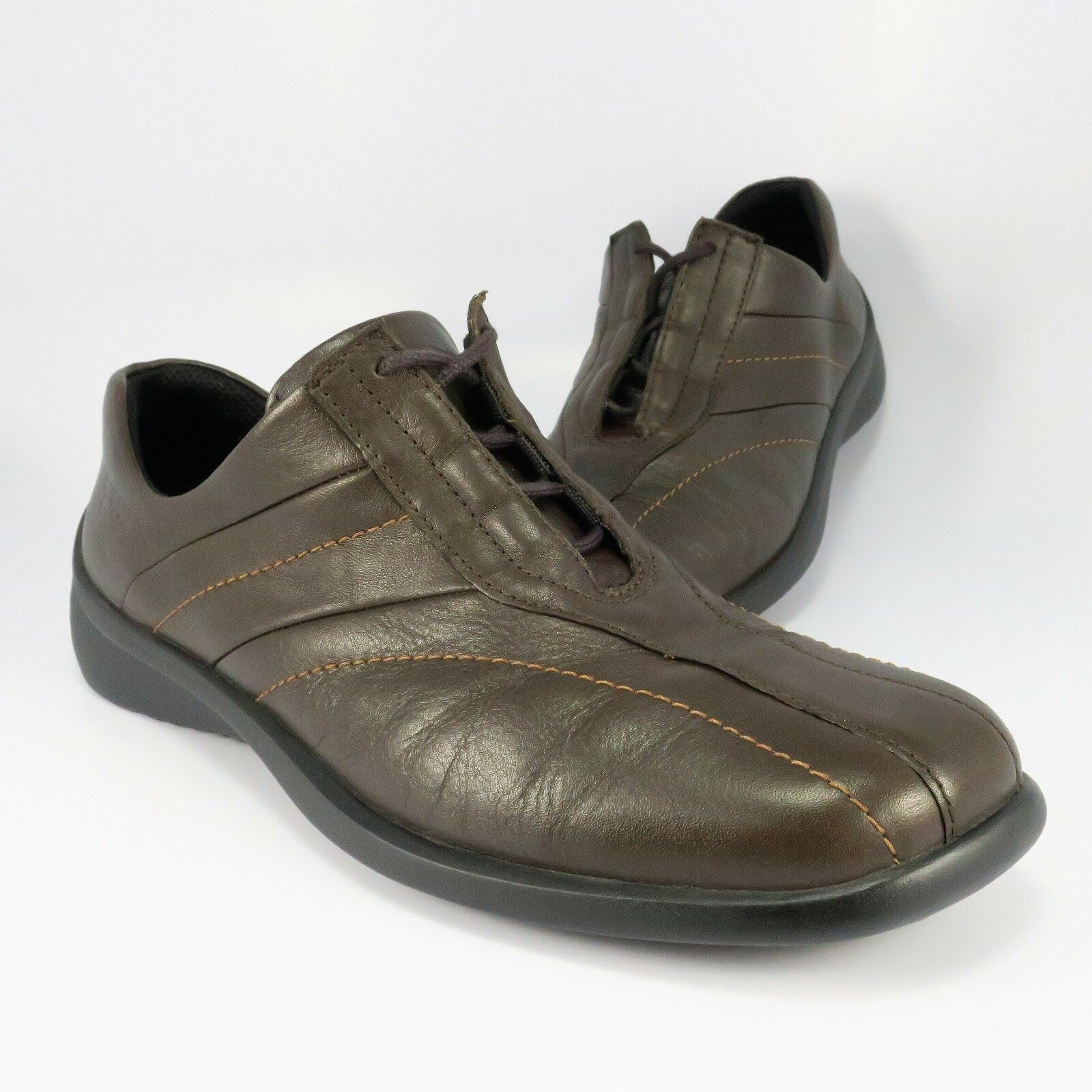 ECCO Casual Oxfords Womens Size 8M () Dark-Brown Leather Inner-Lacing shoes