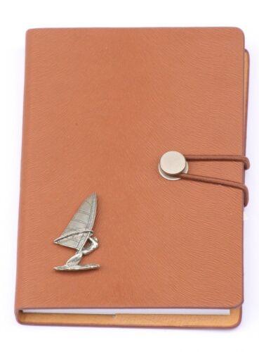 Windsurf Peltre Diseño Notebook A6 Efecto Cuero Deportes Acuáticos Regalo
