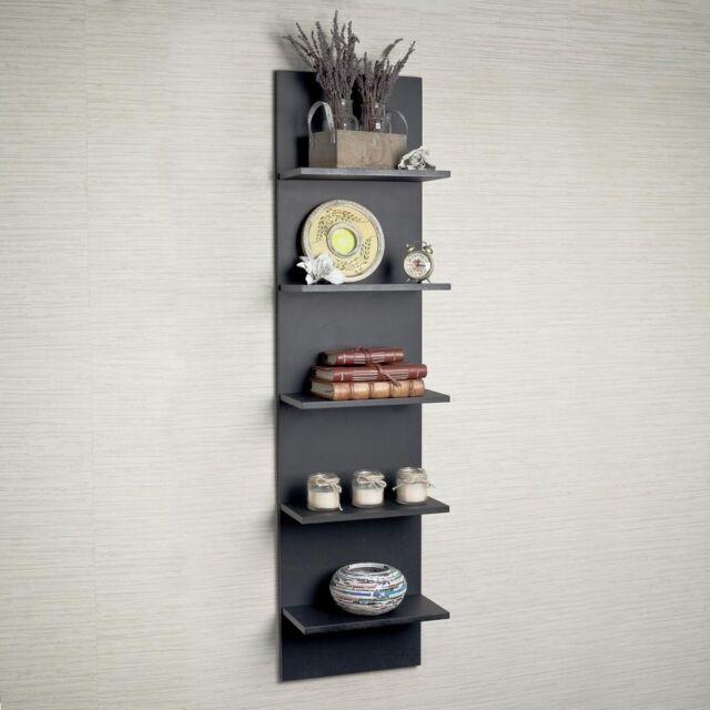 Danya B Ff5120 Decorative Wall Mount Vertical Shelving Unit Black Finish